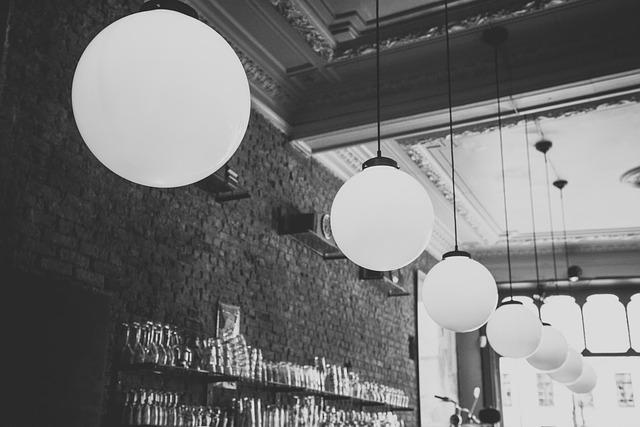 bar, světla, koule